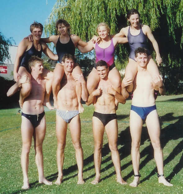 1990-91 Hobart, the fin swimming relay teams 4x100m Men's team: Glenn Howlet, Adam Smith, Steve Clayton, Mike Moore. Women's team (and winners): Allison Hass, Lena Plambeck, ??, Rosa